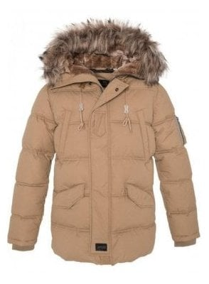 Fur Hooded Parka Style Jacket Beige