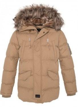 Fur Hooded Parka Style Jacket Beige