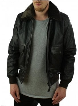 Removable Fur Collar Bomber Leather Jacket Brown