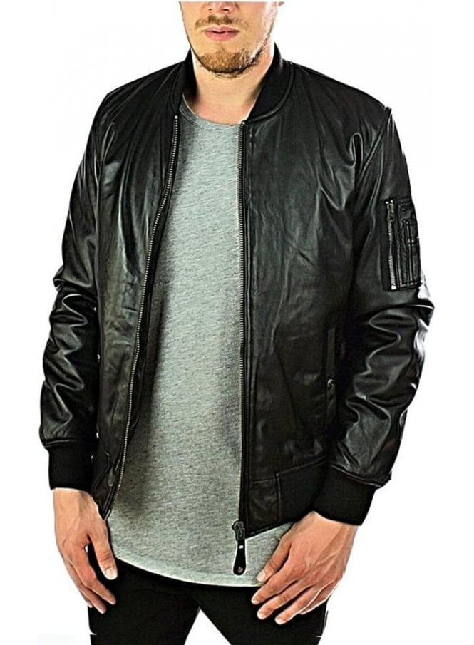 SCHOTT Ribbed Cuff Detail Leather Jacket Black