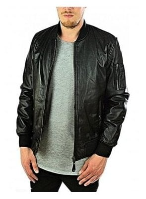 Ribbed Cuff Detail Leather Jacket Black