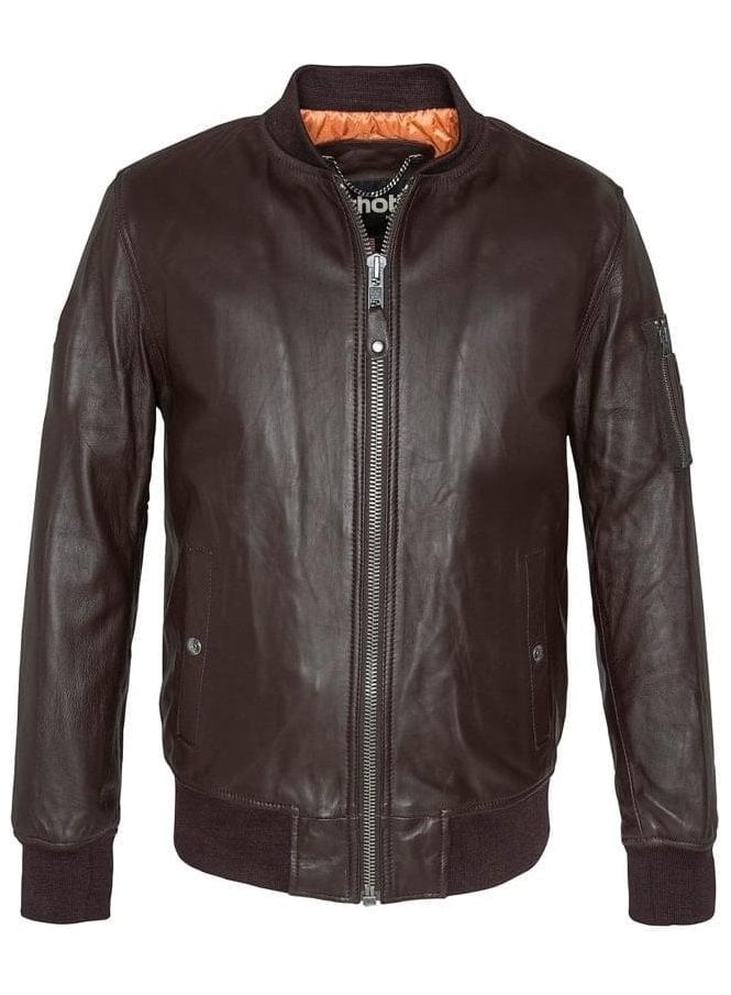 SCHOTT Ribbed Cuff Detail Leather Jacket Brown