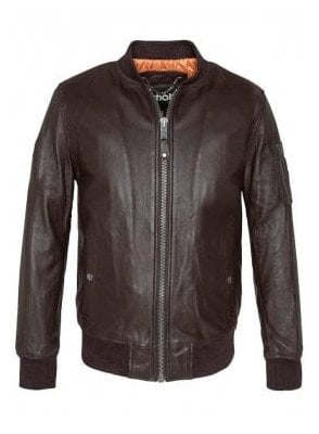 Ribbed Cuff Detail Leather Jacket Brown