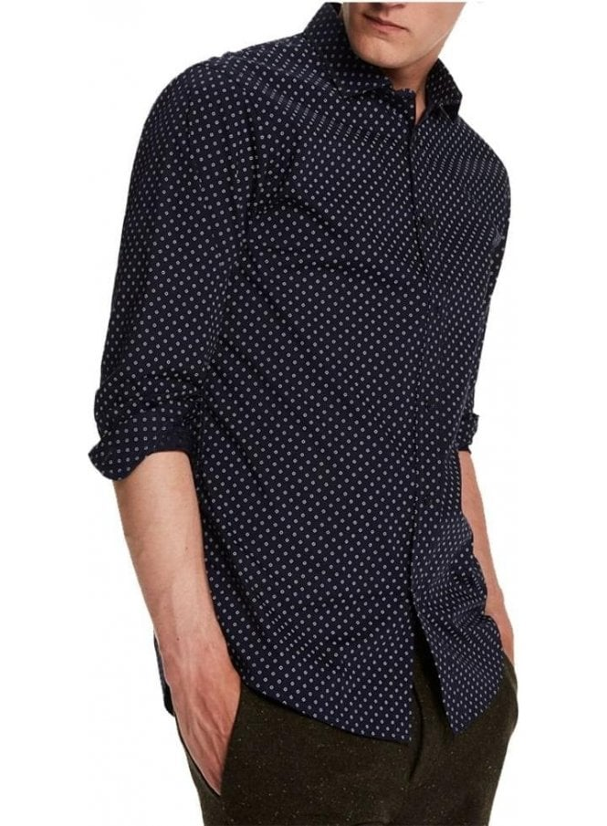 SCOTCH AND SODA Classic Cotton Long Sleeved Circle D Navy