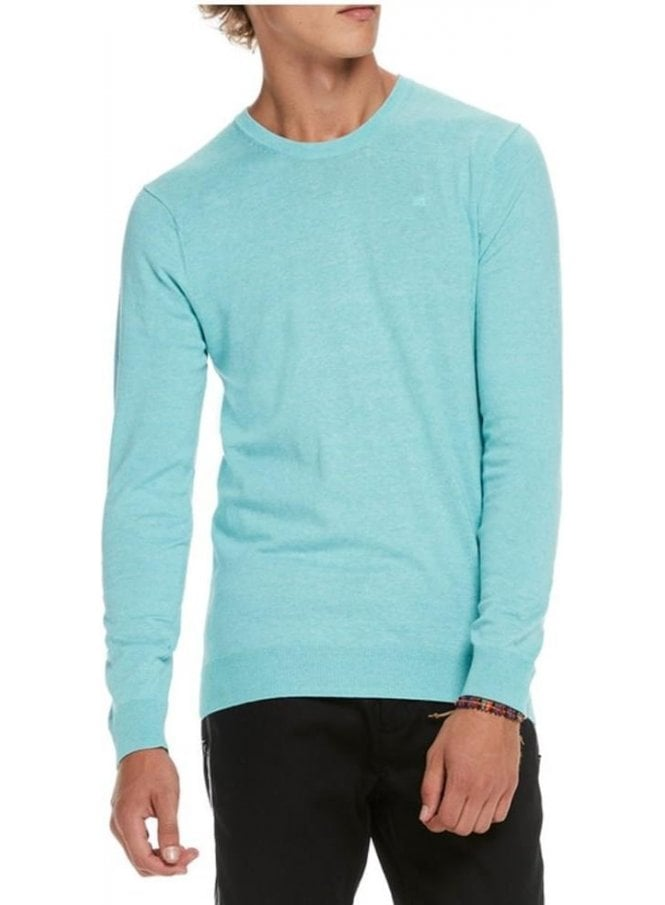SCOTCH AND SODA Classic Crew Neck Jumper Surf Blue