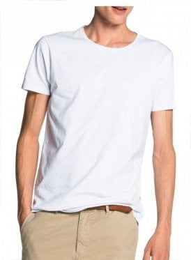 Cotton/lycra Crew Neck Tshirt White