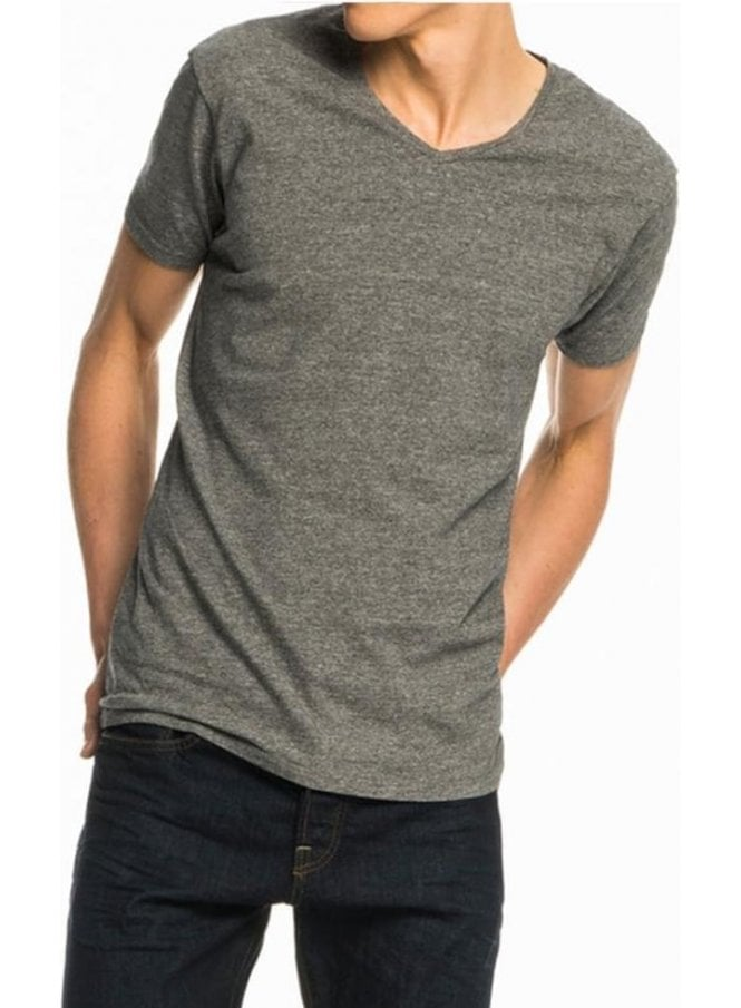 SCOTCH AND SODA Cotton Lycra V Neck Tshirt Charcoal Melange