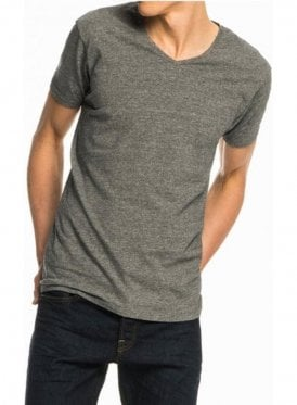 Cotton Lycra V Neck Tshirt Charcoal Melange