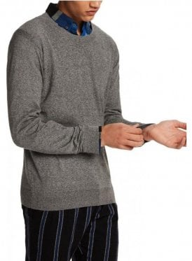 Crew Pull In Cotton Crew Neck Fine Knit Graphite Melange