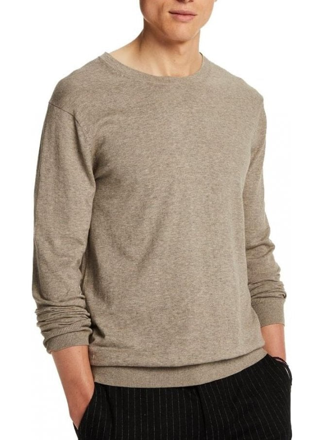 SCOTCH AND SODA Crew Pull In Cotton Crew Neck Fine Knit Sand Melange