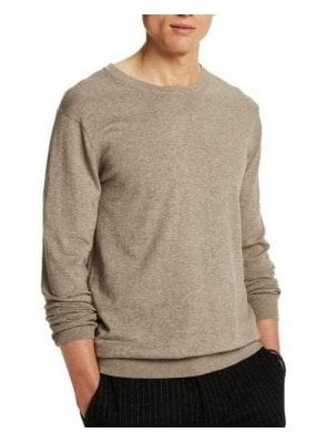 Crew Pull In Cotton Crew Neck Fine Knit Sand Melange