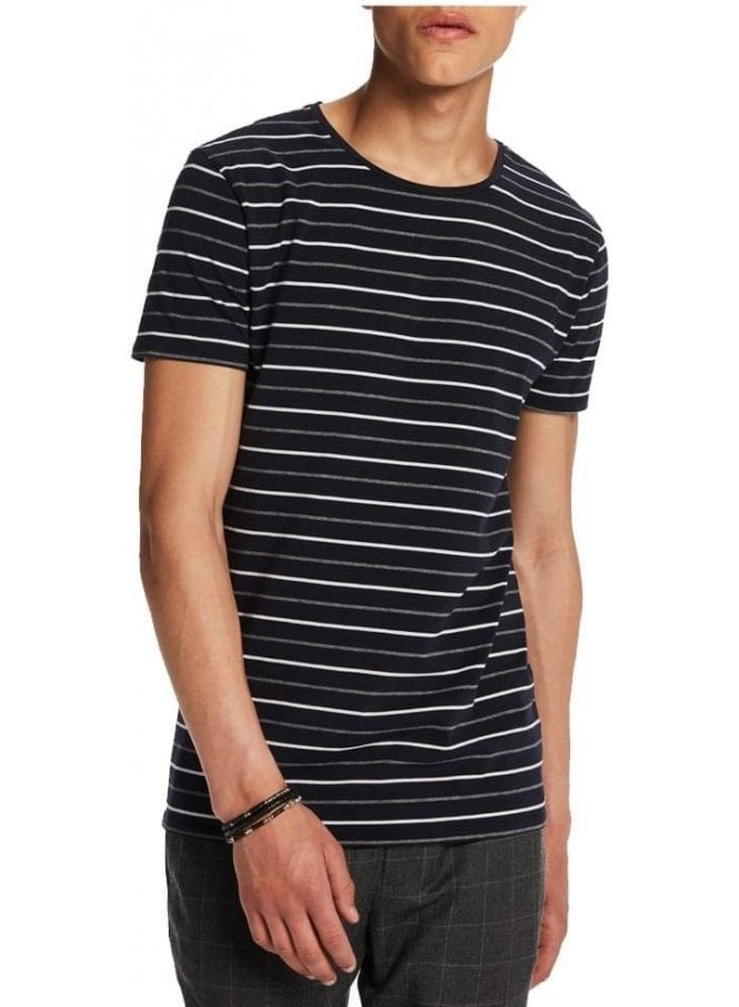 SCOTCH AND SODA High Crew Neck Cotton Stripe Tshirt Navy