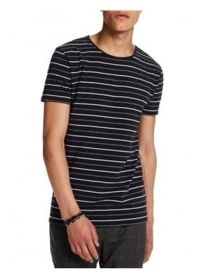 High Crew Neck Cotton Stripe Tshirt Navy