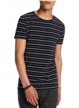 High Crew Neck Cotton Stripe Tshirt Navy