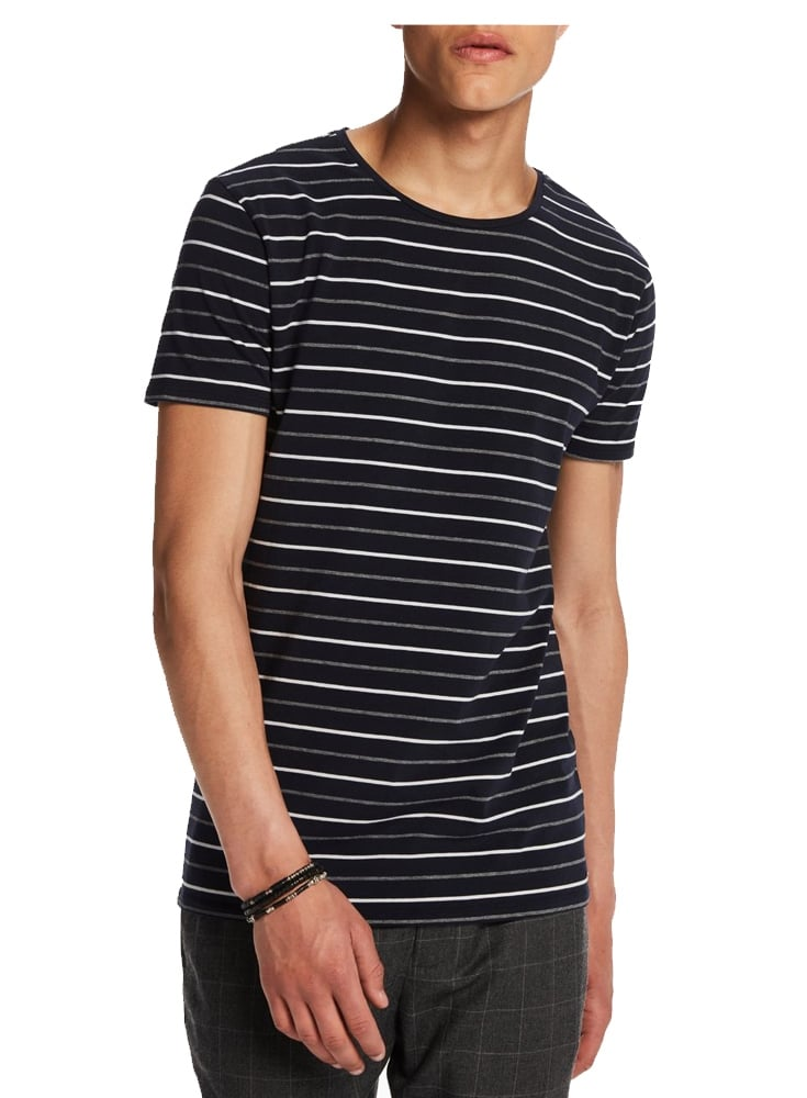 Scotch soda high crew neck cotton stripe tshirt navy for High crew neck t shirts