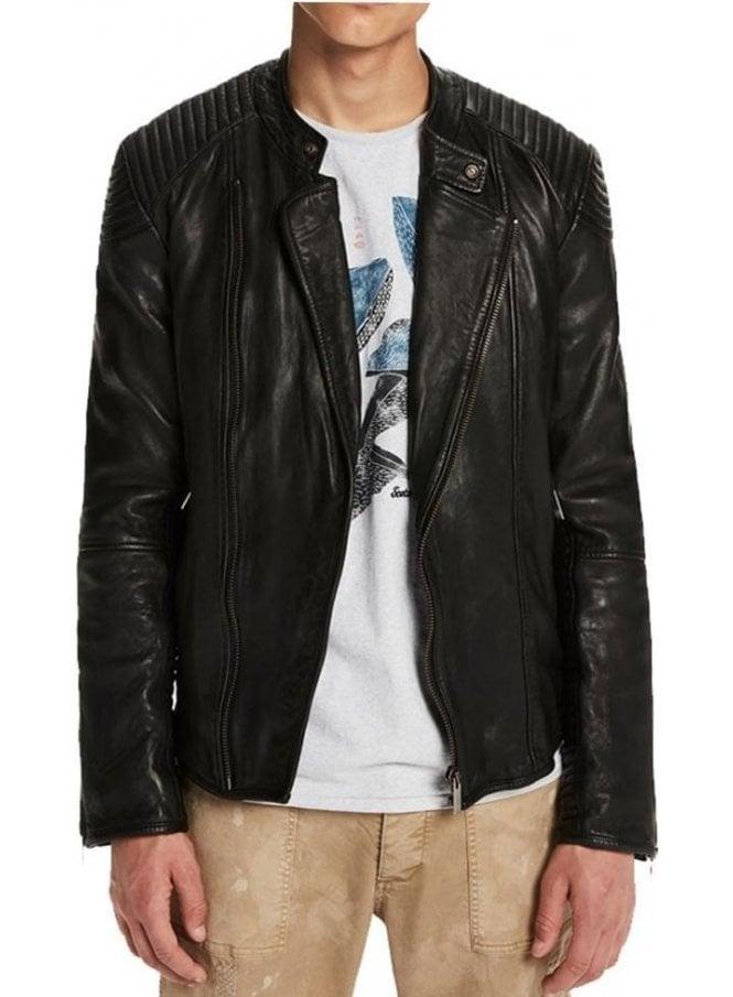 SCOTCH AND SODA Leather Biker Style Jacket Black