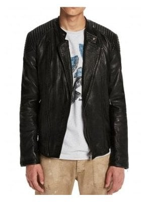 Leather Biker Style Jacket Black