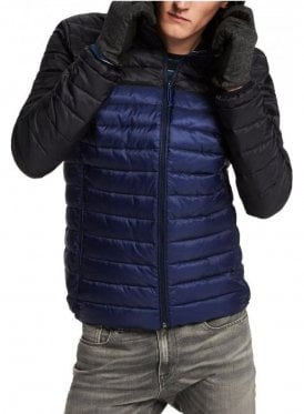 Quilted Hooded Jacket Blue/black