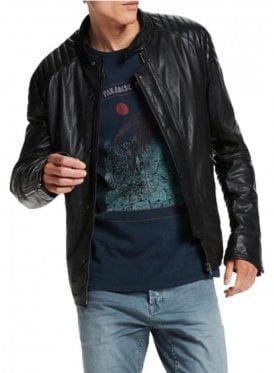 Scotch & Soda Biker Style Leather Jacket Black