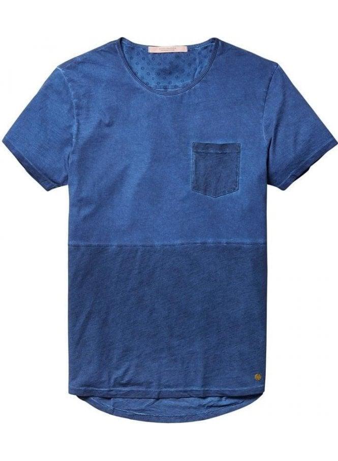 SCOTCH AND SODA Scotch & Soda Lightweight Jersey Crew Neck Pocket Denim Blue