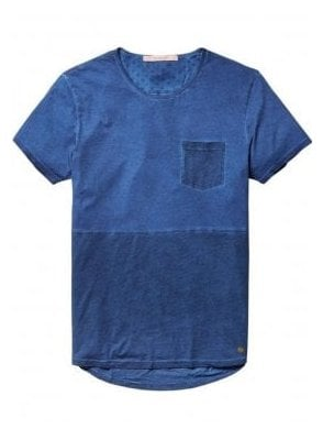 Scotch & Soda Lightweight Jersey Crew Neck Pocket Denim Blue