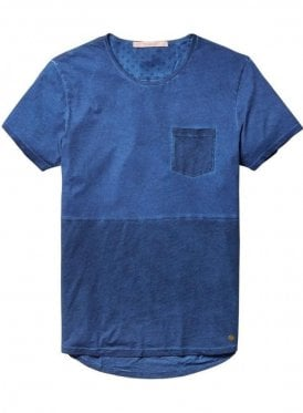 Scotch & Soda Lightweight Jersey Crew Neck Pocket Denim Blue