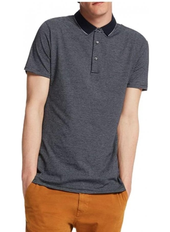 SCOTCH AND SODA Stripe Polo Tshirt Navy