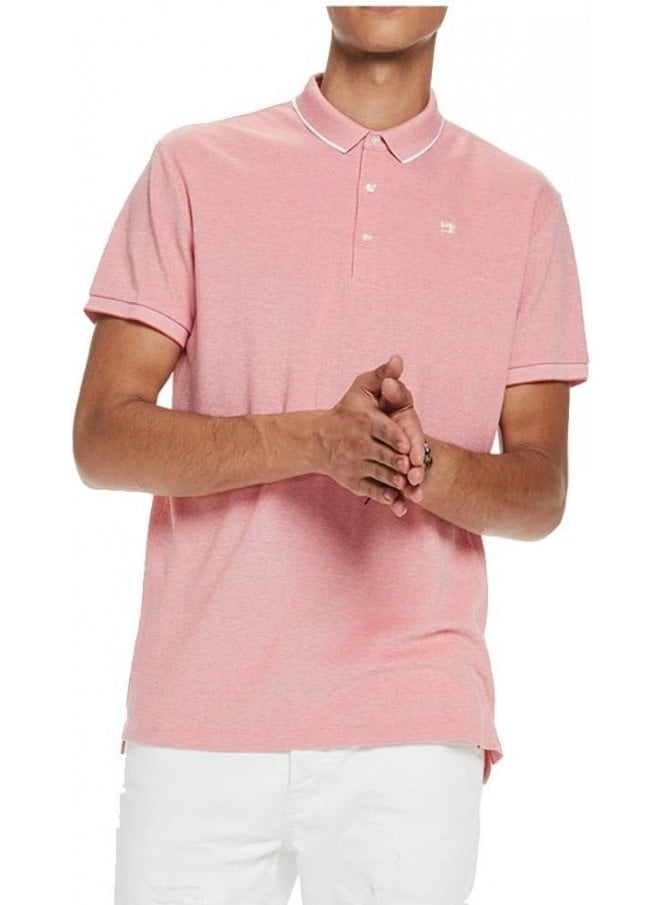 SCOTCH AND SODA Two Tone Pique Polo Tshirt Pink