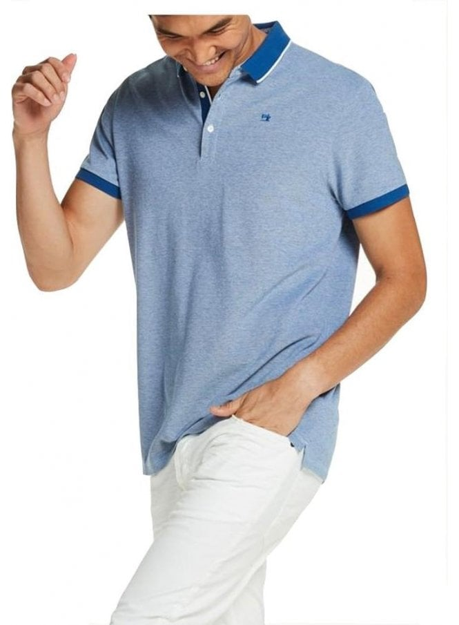SCOTCH AND SODA Two Tone Pique Polo Tshirt Royal Blue