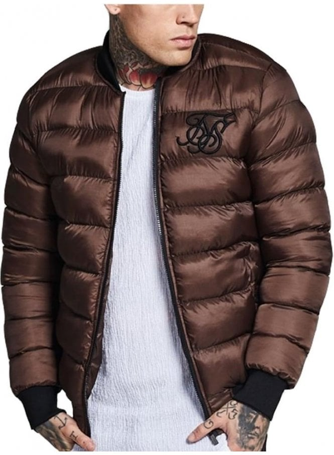 SIK SILK Areo Bubble Bomber Brown Puffer Jacket