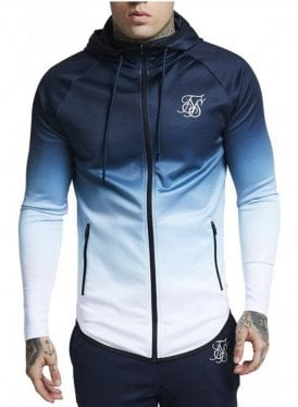 Sik Silk Athlete Zip Through Hoodie Navy/white