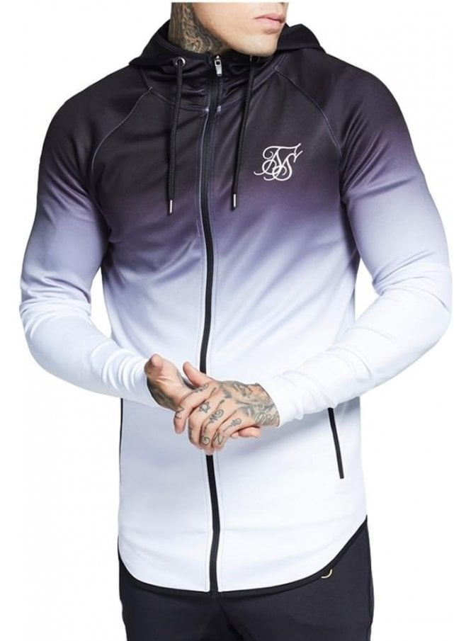 SIK SILK Athlete Zip Through Hoodie Top Black/white