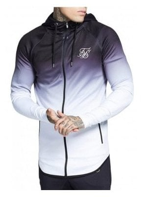 Athlete Zip Through Hoodie Top Black/white