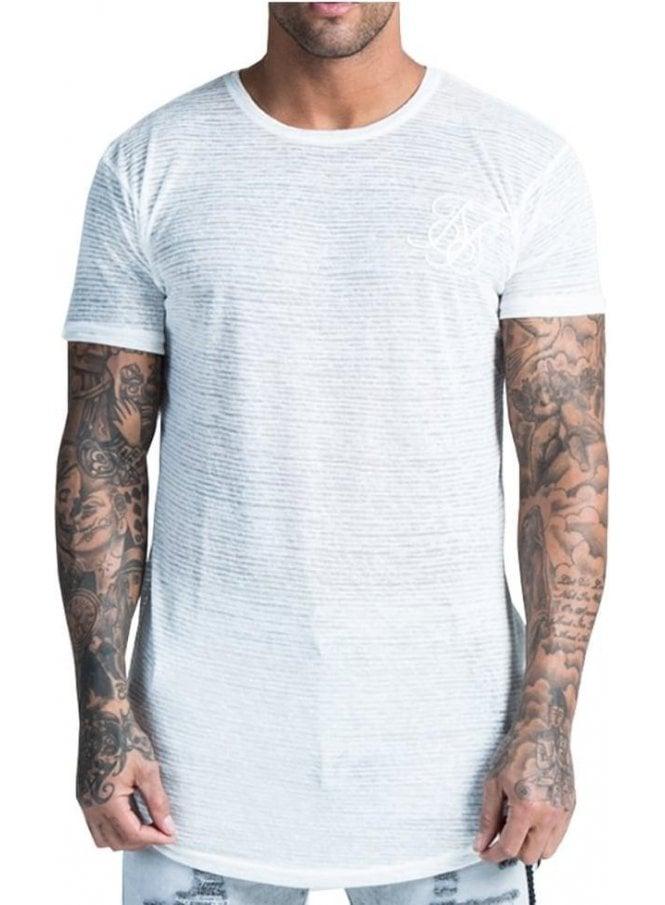 a286633eda Sik Silk Burnt Out S/s Stripe Tshirt Ecru