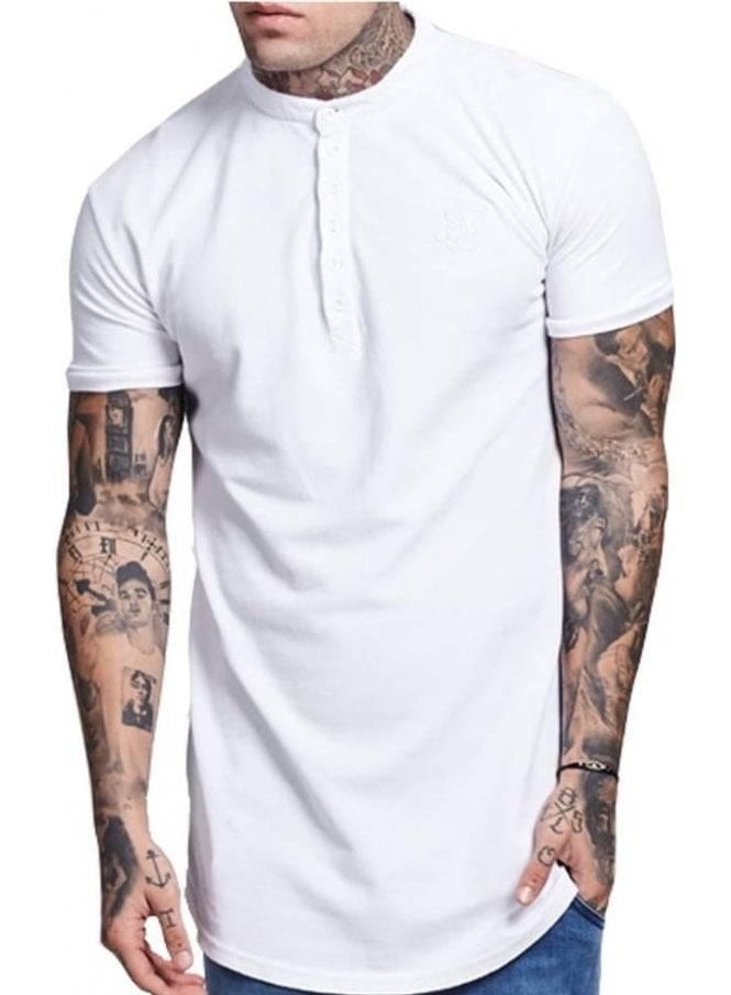 SIK SILK Collarless Polo Tshirt White
