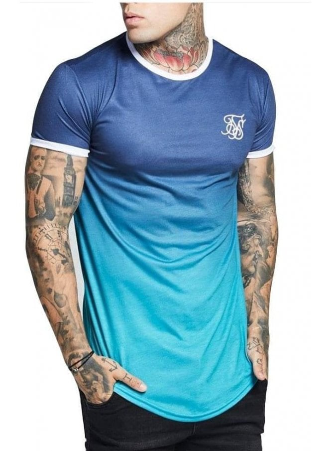 SIK SILK Contrast Poly Fade Gym Tee Navy Teal Fade
