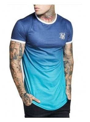 Contrast Poly Fade Gym Tee Navy Teal Fade