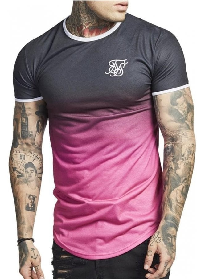 SIK SILK Contrast Polyfade Gym Tee Black Pink Fade