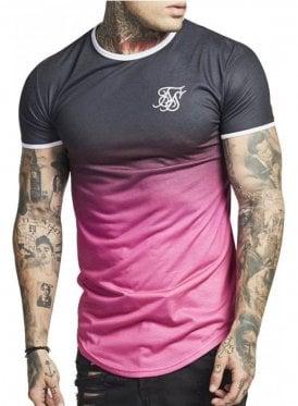 Contrast Polyfade Gym Tee Black Pink Fade