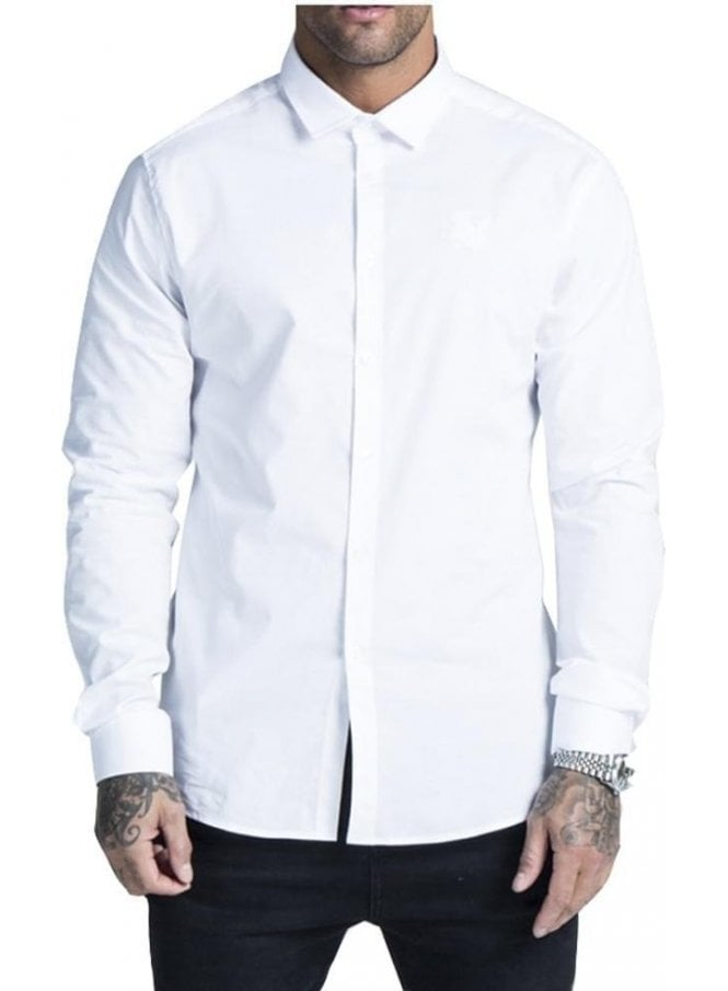 SIK SILK Cotton Stretch Long Sleeved Shirt White