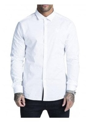 Cotton Stretch Long Sleeved Shirt White