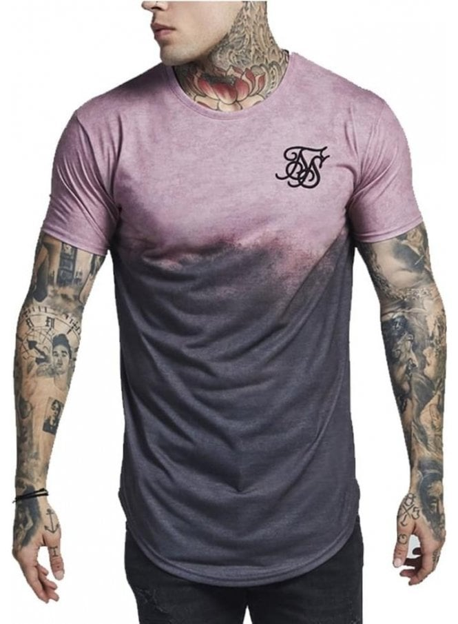 SIK SILK Crew Neck Curved Hem Faded Tshirt Antique Subliminal