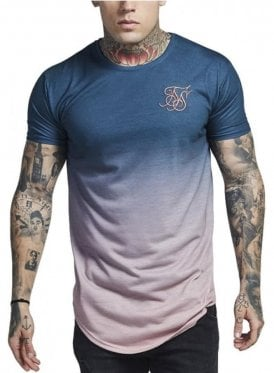 Crew Neck Curved Hem Faded Tshirt Teal Rose Fade