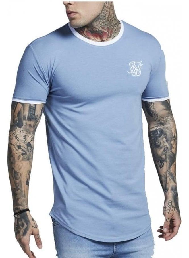 SIK SILK Crew Neck S/s Heritage Gym Tshirt Faded Denim