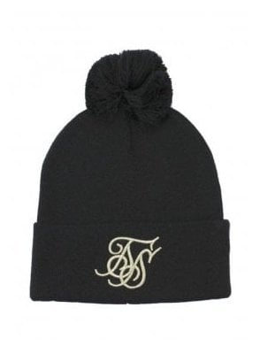 Cuff Knit Bobble Hat - Black & Gold