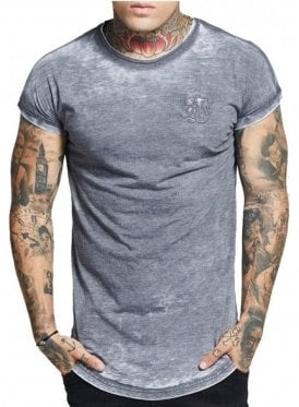 Curved Hem Burn Out Rolled Sleeve Grey