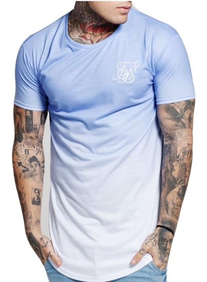 SIK SILK Curved Hem Faded Tshirt Blair Blue Fade