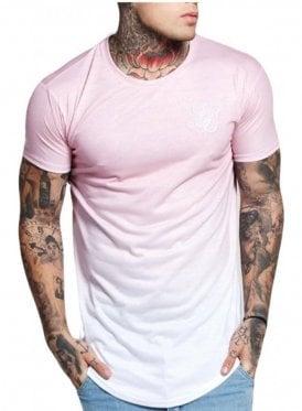 Curved Hem Faded Tshirt Peach Skin Fade