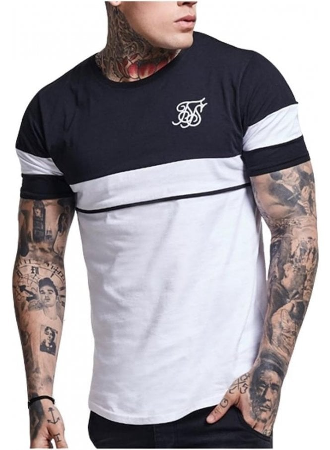 SIK SILK Curved Hem Sport Tshirt Navy Grey white