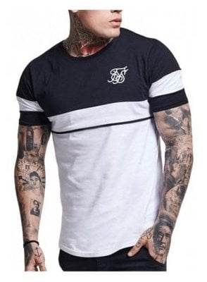 Curved Hem Sport Tshirt Navy Grey white